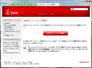 Javaバージョンの確認画面
